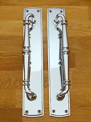 "Large Pair 15"" Chrome Art Deco Style Door Pull Handles Knobs Plates Finger Push"