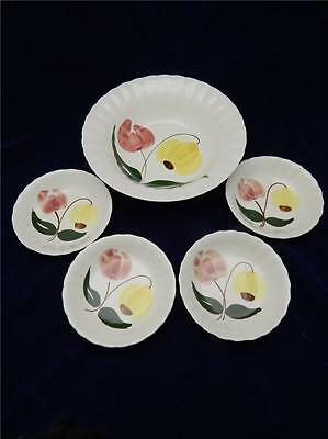 Blue Ridge Southern Potteries SHOO FLY Serving Bowl & Set of 4 Berry Bowls