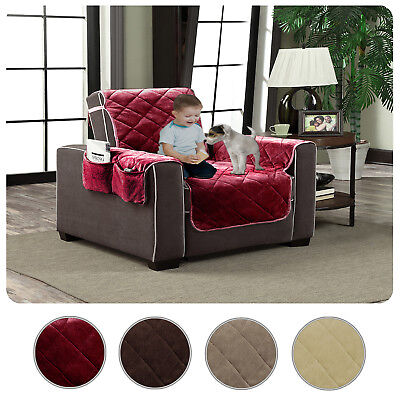 Plush Velour Slipcover Pet Dog Cat Couch Furniture Protector Cover with Pockets