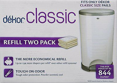 Dekor Classic Refill Two (2) Pack Baby Diapers Pail Trash Can Disposal FREE SHIP