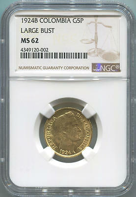 1924 B Colombia Gold 5 Peso. NGC MS62. Large Bust.