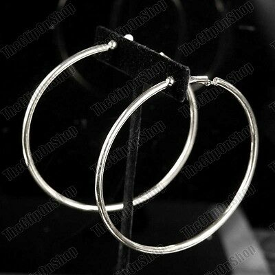 Large 8cm CLIP ON HOOPS silver/gold fashion EARRINGS round hoop NON-PIERCED EARS