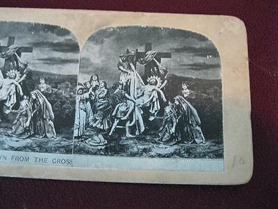 Stereoview Christian Christianity Bible Scene Jesus Taken Down Cross (O) AS IS