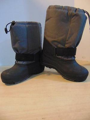 Winter Boots Childrens Size 4 Kamik Youth Grey Black With Liner Worn Once