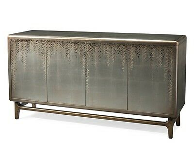 """72"""" Long Vines Hand Painted Sideboard Buffet Cabinet Over  Misto Silver Leaf Fou"""