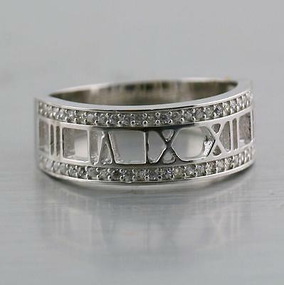 Roman Numeral Band Ring Sterling Silver CZ Cubic zirconia