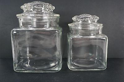 Vintage Square Drugstore Apothecary Glass Jars Set of 2, Glass Kitchen Canisters