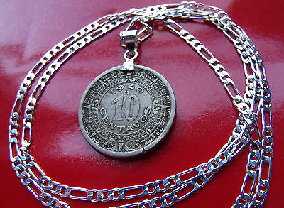 """Old Classic Mexican Aztec Calendar Pendant on a 30"""" 925 Sterling Silver Chain"""