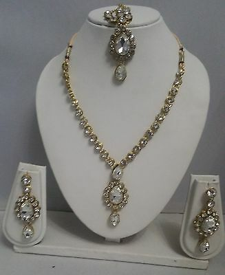 New Fashion Gold Indian Bollywood Jewellery Bridal Necklace Set Earrings & Tikka
