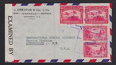 Nicaragua 1942 Wwii Censored Airmail Cover Managua To New York Usa