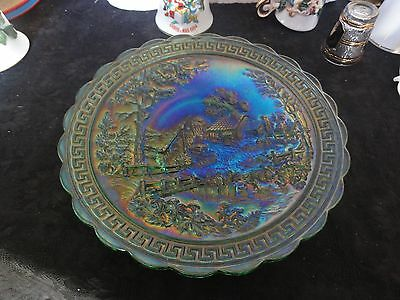 SCARCE OLD IMPERIAL EMERALD GREEN HOMESTEAD CHOP PLATE - No IG