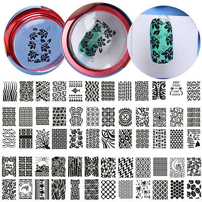 6 Design DIY Stencil Nail Art Image Stamp Stamping Plate Manicure Template Tools