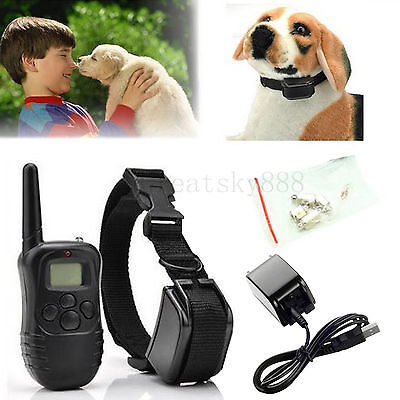 300 Yard Rechargeable LCD 100LV Electric Shock Vibra Remote Dog Training Collar