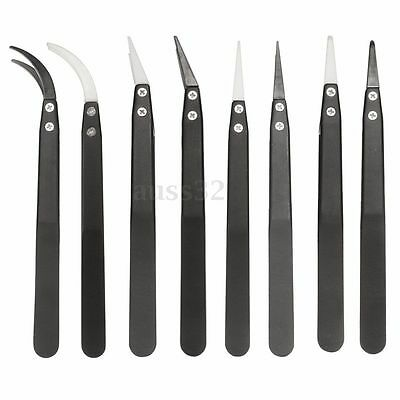 Stainless steel Heat Resistant Ceramic Tweezers Non Conductive Pointed Tip Clip