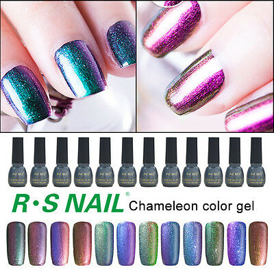 New RS Nail Gel Chameleon Nail Lacquers UV LED Gel Polish Varnish Glitter Salon