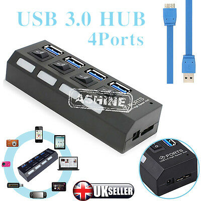 Slim 4-Port USB 3.0 5Gbps Speed Portable Compact Hub Adapter For PC Laptop Black