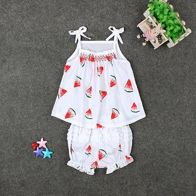 2PCS Toddler Kids Baby Girls Vest Tops+Ruffles Shorts Outfits Summer Clothes Set