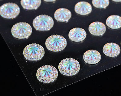 50 Self Adhesive AB Pointed Faceted Diamante Rhinestone Stick on Gems