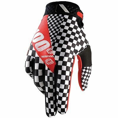 100% Mens Guys Adult Mx Atv Bmx Riding Legend Race Glove Black White Checkered