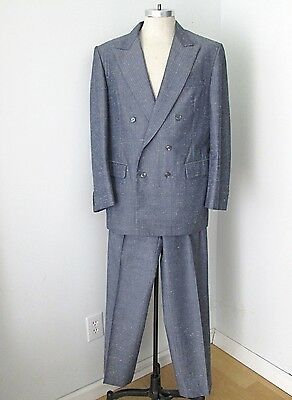 VGC Vtg 80s New Wave Blue Pebble 2-Pc Dbl Breasted Suit Pleated Tapered Pants 44