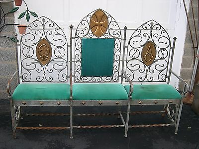 Antique Gothic Heavy Wrought Iron Bench/seat