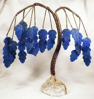 Victorian Tree Table Decoration Blue Leaves Silver Wire Wrap Antique