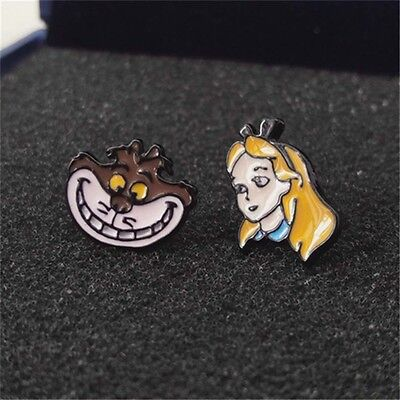 Alice In Wonderland And Pink Cheshire Cat Stud Earrings