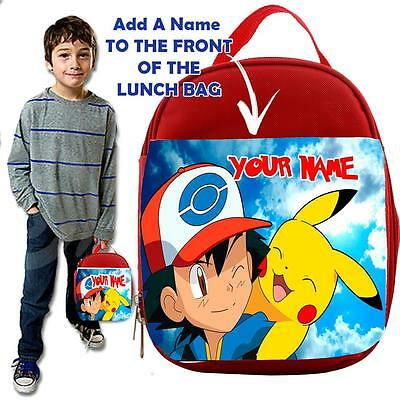 Personalised POKEMON  1 KIDS RED Lunch Bag Insulated Cool Box SCHOOL