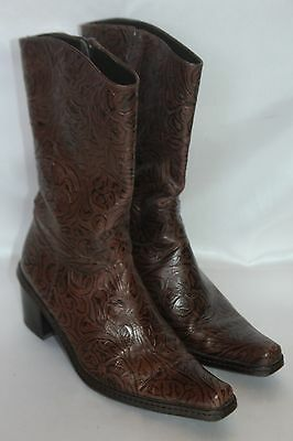 e38a155b7bc GIANNI BINI BROWN Embossed Tooled Leather Zip Heeled Western Boots Sz 6.5