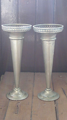 Antique Vintage Silverplate Deco Nouveau Fluted Pair Trumpet Vases Hanley Plate