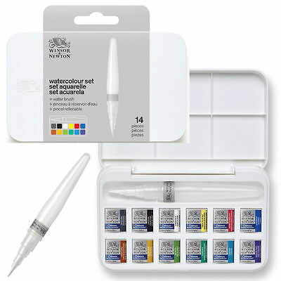 Winsor & Newton Cotman Watercolour Brush Pen Set - 12 Half Pan + Waterbrush
