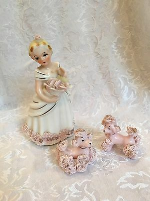 Vintage Napco Lady With 2 Spaghetti Poodles Figurine Pink