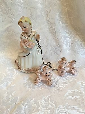 1950's Vintage Napco Lady With 2 Spaghetti Poodles Figurine Pink Chain