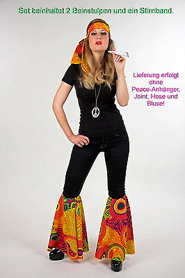 3-teiliges Hippie-Set / Stirnband & Beinstulpen / Flower-Power Kostüm-Set