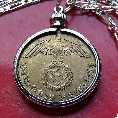 "pre 1939 GERMAN THIRD REICH BRASS WWII Coin Pendant on a 30"" 925 Silver Chain"