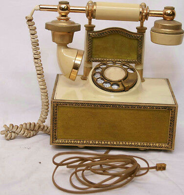 VINTAGE 1970's VICTORIAN FRENCH STYLE ART DECO ROTARY TELEPHONE PHONE DECO-TEL