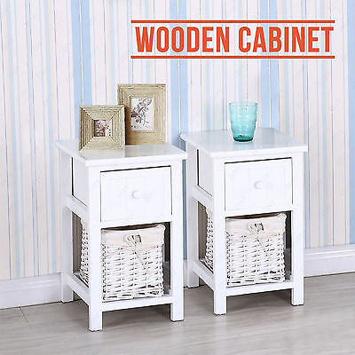 Brand New White Shabby Chic Tall Bedside Unit with Wicker Storage Drawers Table