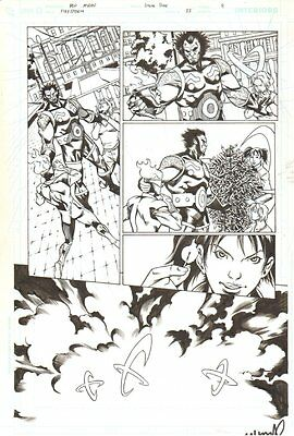 Firestorm #35 p.8 - Action vs. Big Bad Guy - Signed art by Pop Mhan