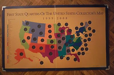 "1999-2008 First State Quarters Of The United States Collector's Map - 28"" X 17"""