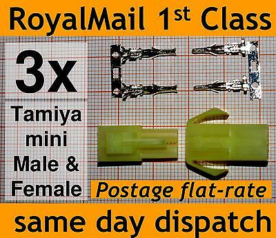 3x Tamiya Mini Connector plug Male & Female with Crimps for Battery ESCs small