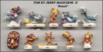 TOM JERRY MAGICIANS French Set 10 Cute PORCELAIN Figures RARE Feves OFFICIAL !!!