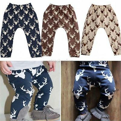 Toddler Kids Baby Boys Girls Deer Pattern Bottom Leggings Harem Pants Trousers