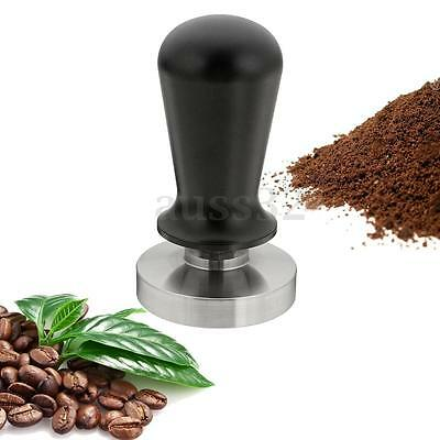 Black Flat Base Stainless Steel Calibrated Coffee Tamper Barista Tool 58mm