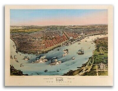 Bird's Eye View 1851 New Orleans Lousiana Vintage Style City Map - 18x24