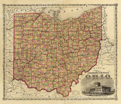 1863 Ohio Township and Coutny Historic Vintage Style Wall Map - 24x28