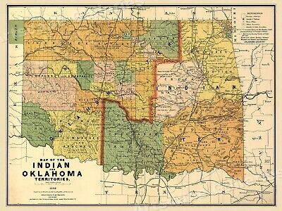 """1890s """"Map of the Indian and Oklahoma Territories"""" Vintage State Map - 24x32"""
