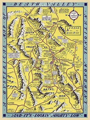1948 Death Valley National Monument Historic Vintage Style Wall Map - 18x24