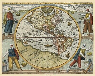1596 World Map Classic Historic Vintage Style Wall Map - 20x24