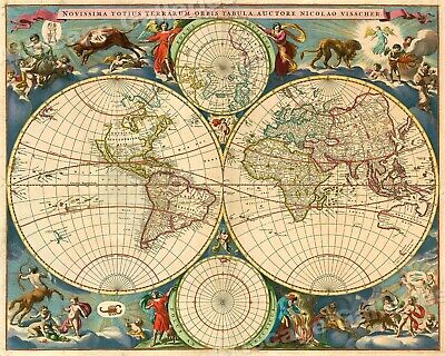 1695 Old World Historic Vintage Style Wall Map Poster - 20x24