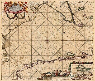 "1702 ""Sea Chart of the English Channel"" Vintage Style Navigational Map - 16x20"